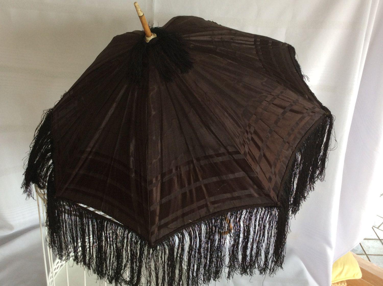Antique Victorian folding black parasol umbrella wood braces fringe child carriage size by lizfinestcollection on Etsy