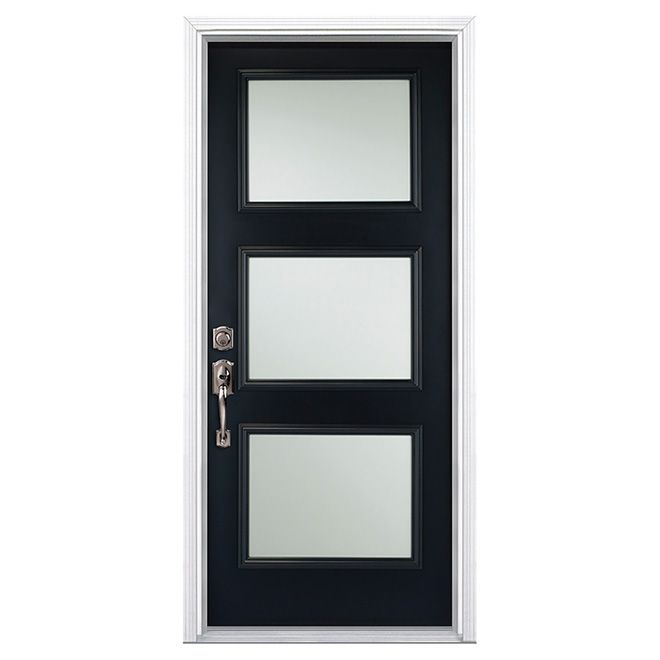 3 Panel Steel Door 32 Black Left Handed Rona For The Home