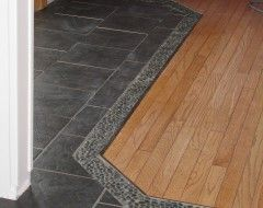 River Rock Tile Border On Laundry Room Floor Between Straight And Diagonal Tiles