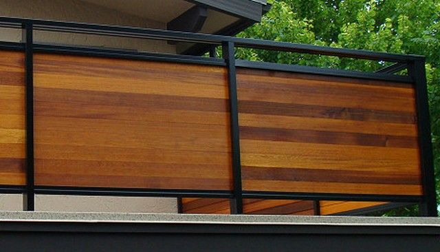 Metal Framed Horizontal Wood Privacy Rail