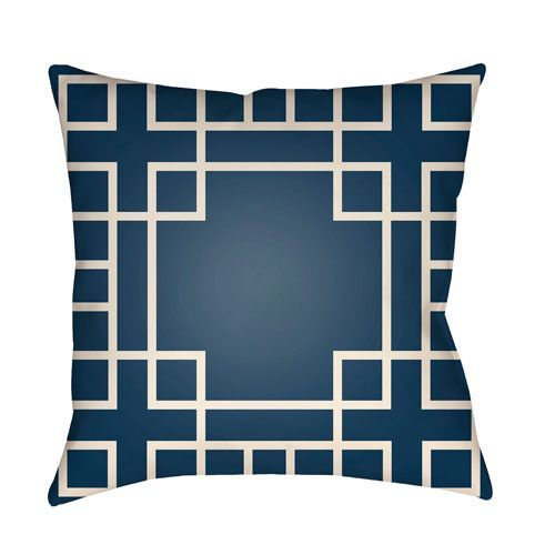 Litchfield Hanser Navy Blue and Ivory 20 x 20 In. Pillow with Poly Fill