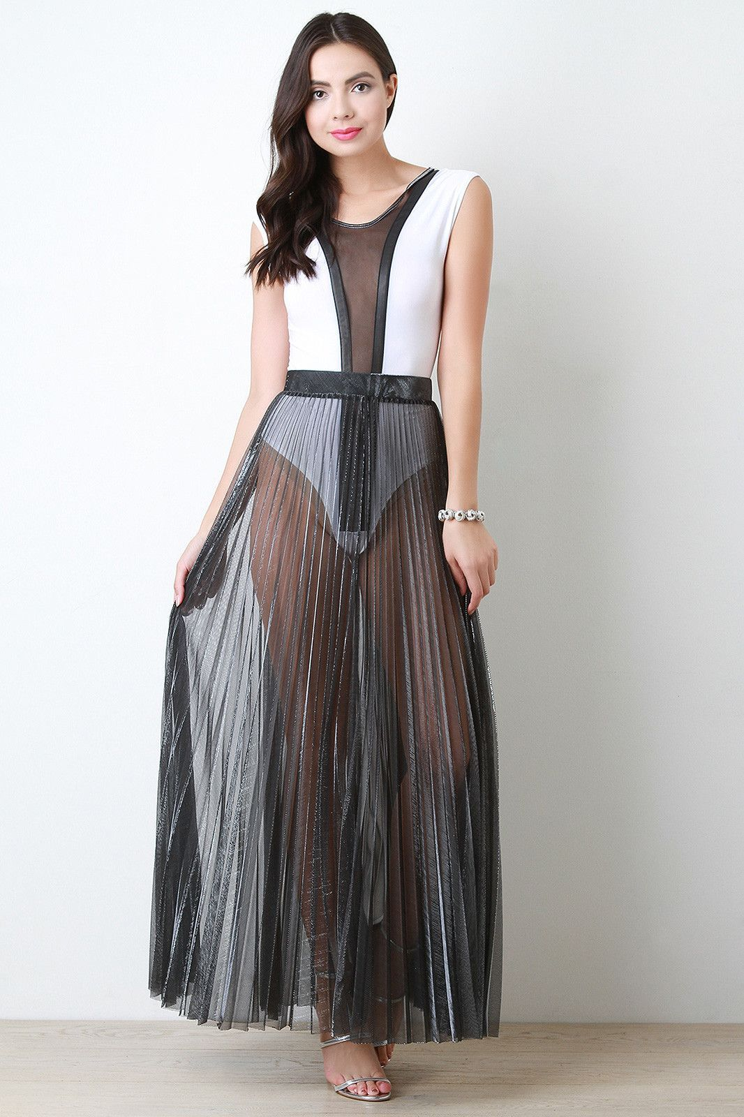 Metallic semi sheer pleated maxi skirt products pinterest products
