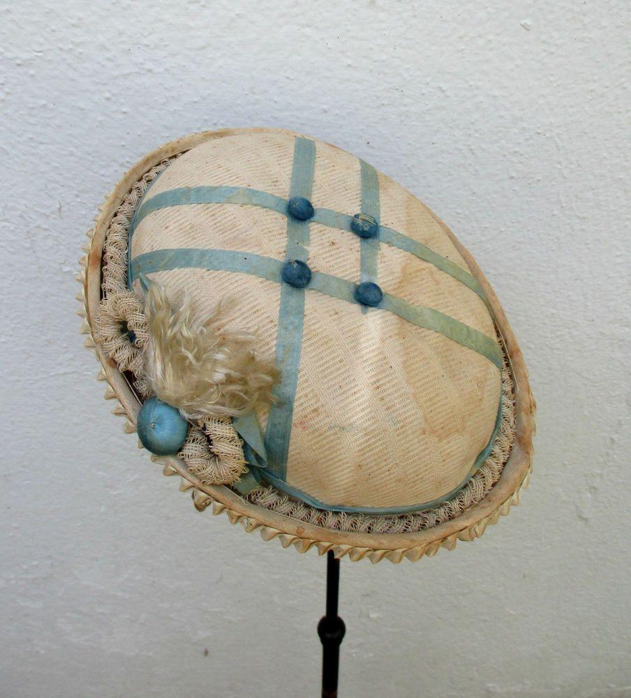 RARE 1860s VICTORIAN CIVIL WAR ERA CHILD'S BONNET HAT PAPER LABEL BUTTONS RIBBON