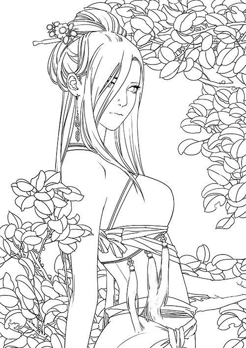 图片选自图书《繁花如素:张小白的唯美插画...   chinese coloring pic ...