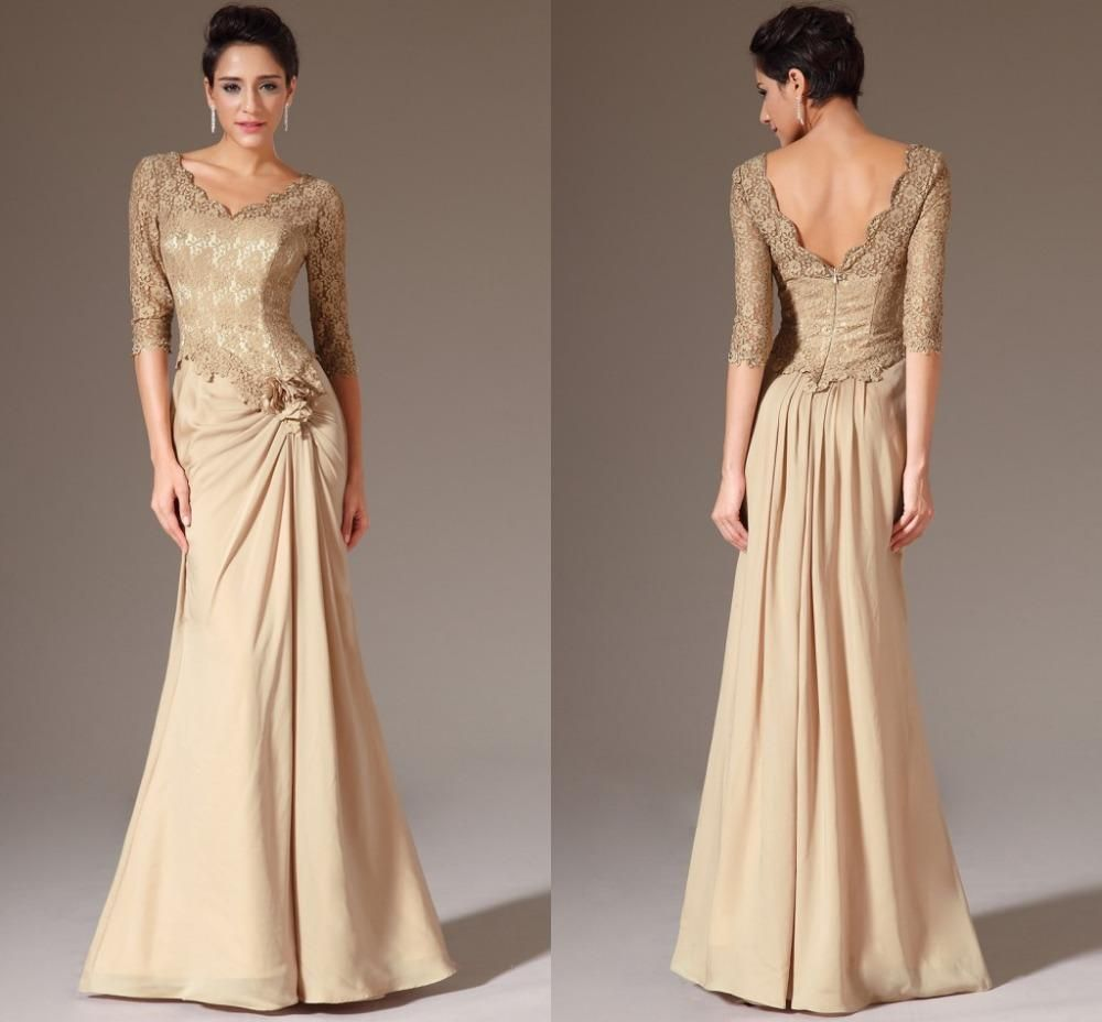 Gold mother Of The Bride Dress,Lace Long Mother dresses,Half ...