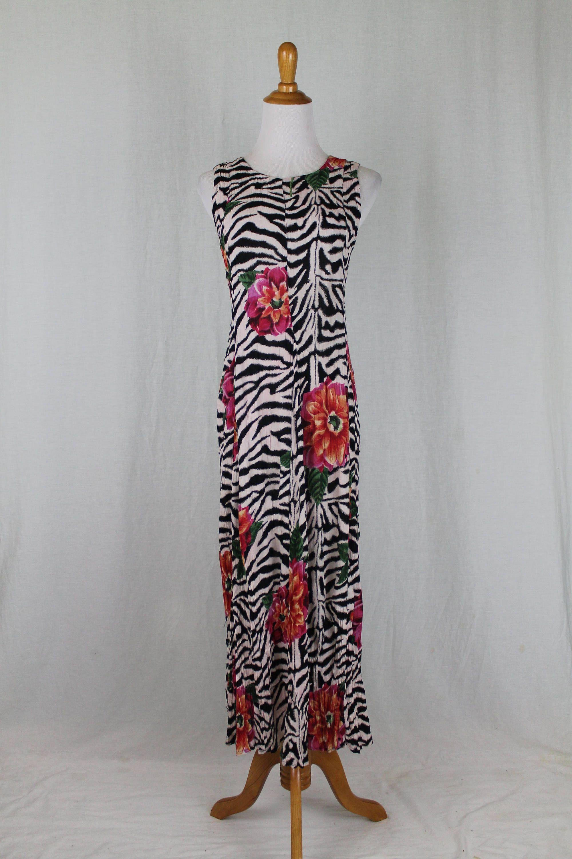 Vintage 1990 S Nostalgia Brand Long Zebra Poppy Print Artsy Maxi Dress New By Glamarchive2017 On Etsy