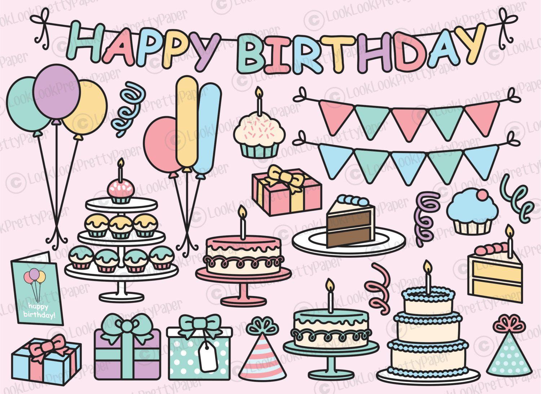 Premium Vector Clipart Kawaii Birthday Cute Party