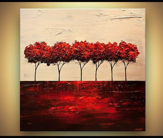 ORIGINAL Abstract Contemporary Red Blooming Trees Acrylic Painting - cuadros para decorar