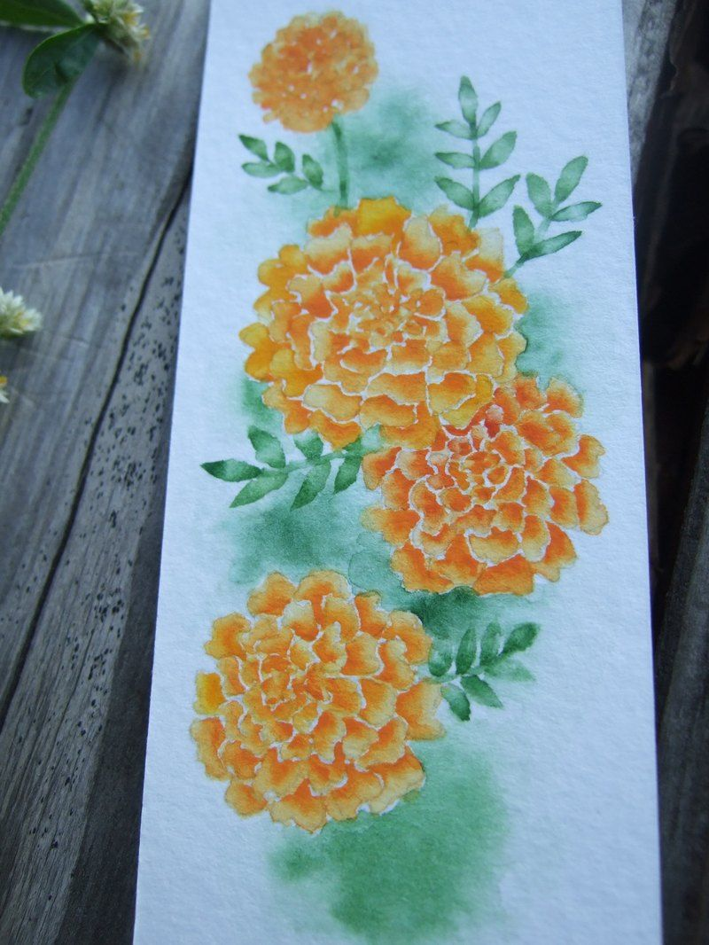Pot marigold watercolor painting bookmark, handmade card, flower illustration. Facebook: https://m.facebook.com/ringo.handpainter/