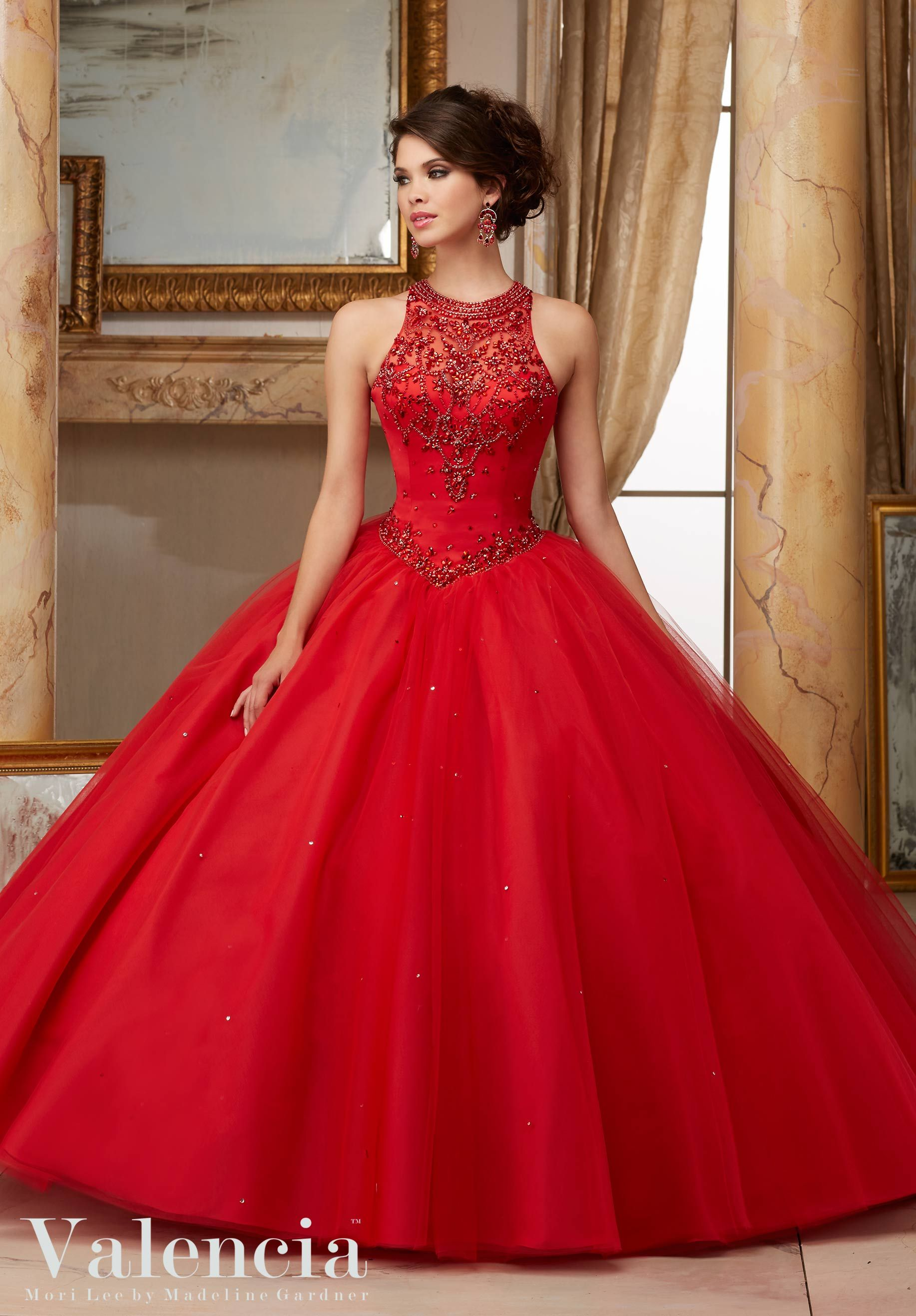 Jeweled Beaded Satin Bodice on Tulle Ball Gown Quinceañera Dress ...