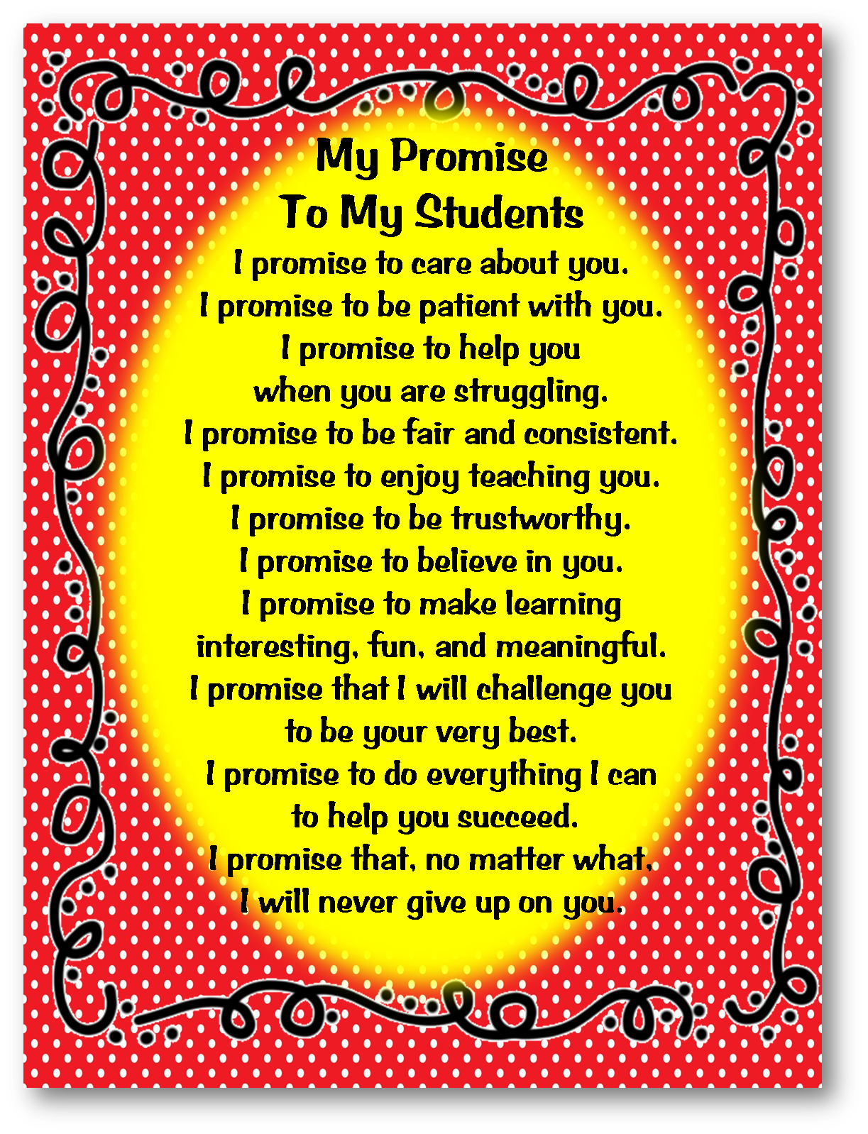 teacher promise to students- I always love these | Teaching