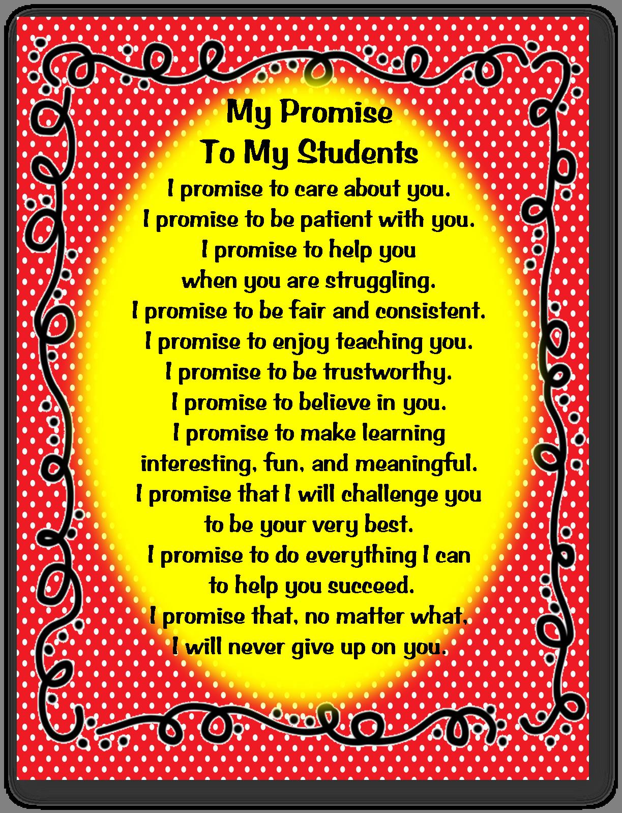 Teacher Promise To Students I Always Love These Teachers