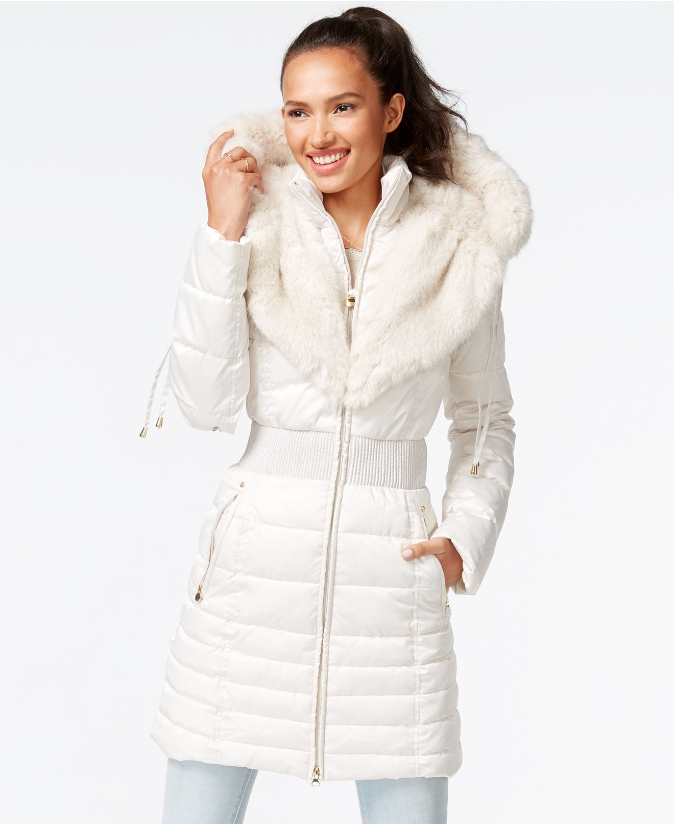 Laundry By Shelli Segal Faux Fur Trim Puffer Coat Coats Women
