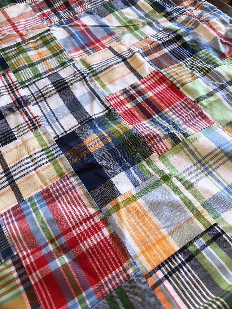 2 Pottery Barn Kids Madras Plaid Blackout 44 X 84 Drapes