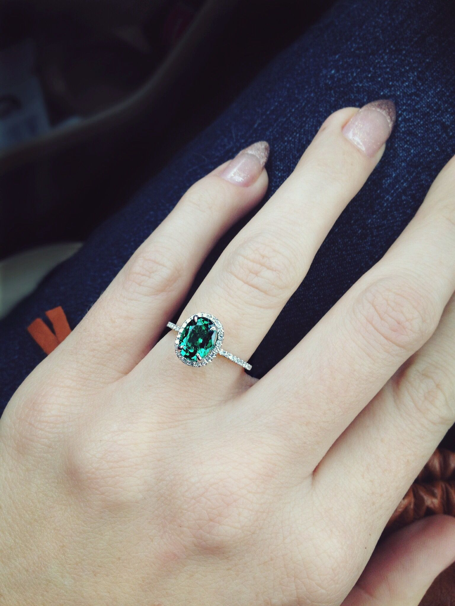 emerald gold bishop winsor ring and engagement cluster white diamond