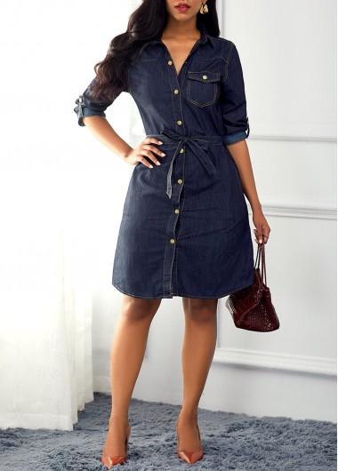 Pocket Design Turndown Collar Denim Blue Dress | Dress stores online,  Fashion, Necklines for dresses