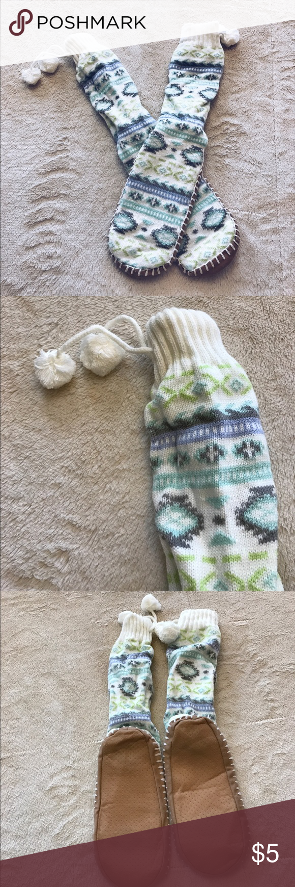Slipper socks Slipper socks. Only worn once! They're technically one size fits all but I can give you the measurements if you're interested Shoes Slippers