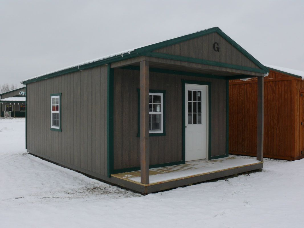 14x24 Cabin with Ivy Green Metal Roof and LP SmartSide