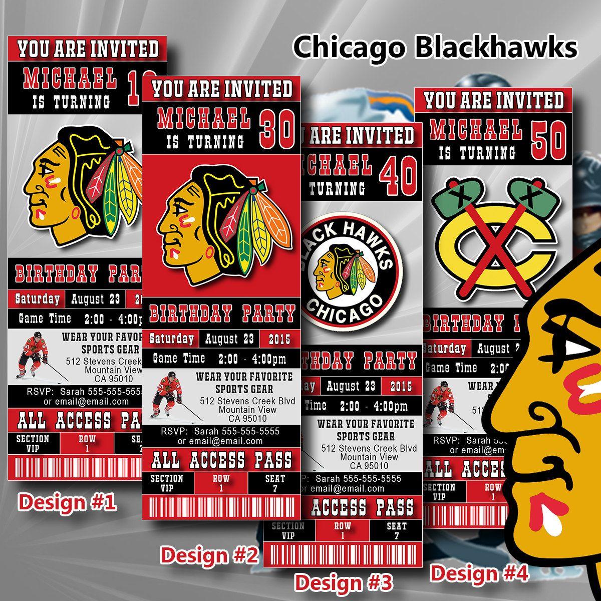 Chicago Blackhawks Birthday Invitation Hockey Ticket Invitation ...