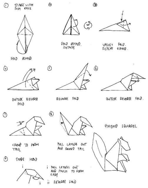 3d origami fox diagram