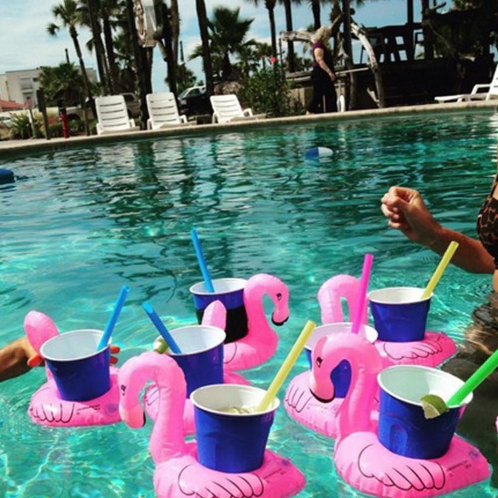Inflatable Flamingo Drink Holders Animal Swimming Pool Hot Tub ...