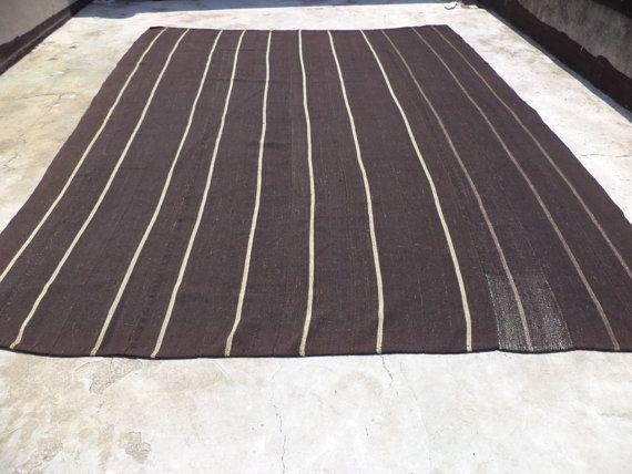 Large Black And White Stripe Kilim Rug 13 9 X10 7