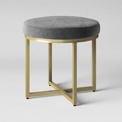 Fine Malvern Round Ottoman Gray Velvet With Brass Legs Inzonedesignstudio Interior Chair Design Inzonedesignstudiocom