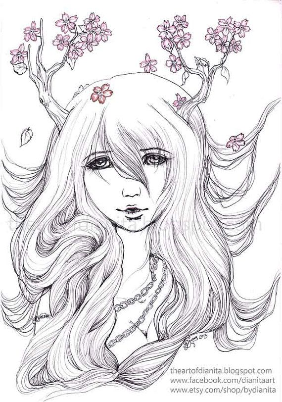 Nature Lady 01 Original Pen Drawing Manga Anime by