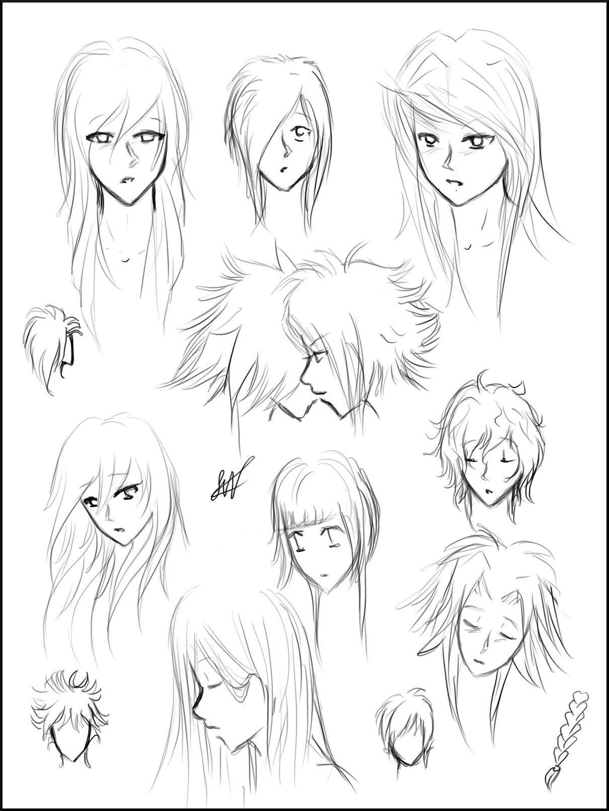 Manga Hairstyles Drawing Sketching Manga Hair Draw Manga