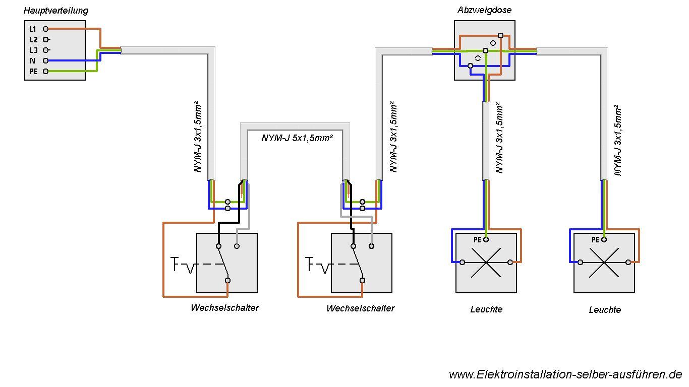 Schaltplan Einer Wechselschaltung Mit Zwei Lampen Elektroinstallation Selber Machen Elektroinstallation Elektroinstallation Haus