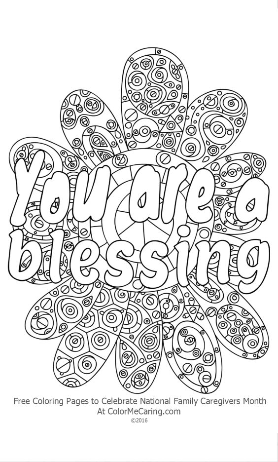 Free Inspirational Coloring Pages To Celebrate Caregivers