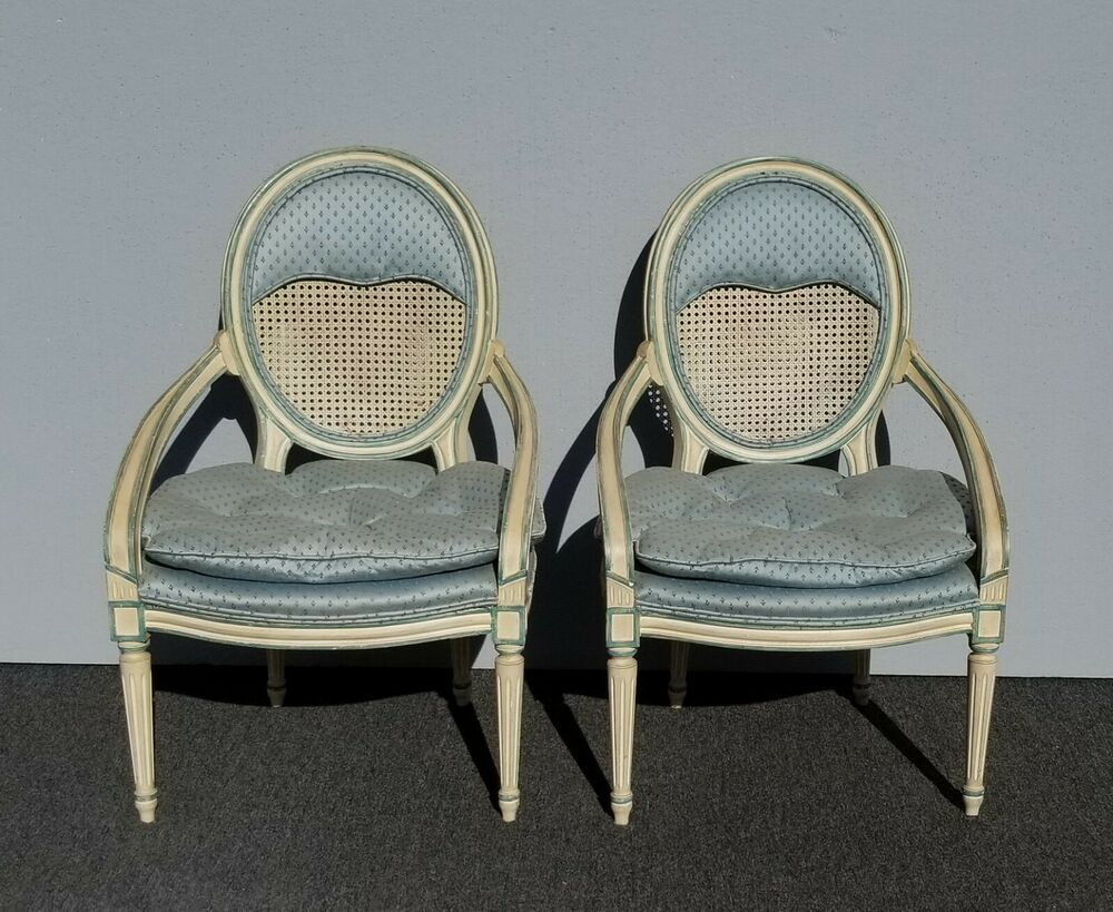 Best Pair Vintage French Country Baby Blue Cane Back Accent 400 x 300