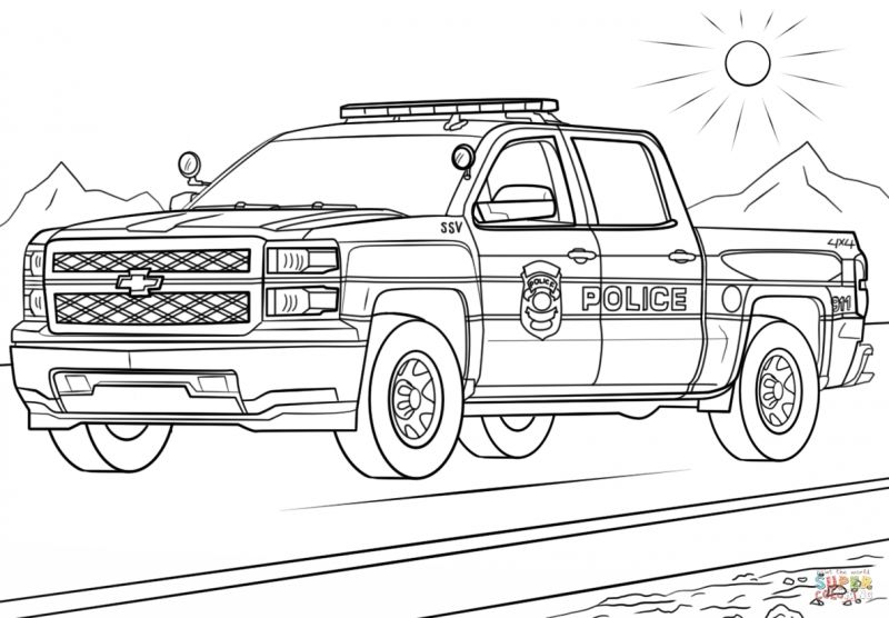 Coloring Pages Trucks Truck Coloring Pages Cars Coloring Pages Police Truck