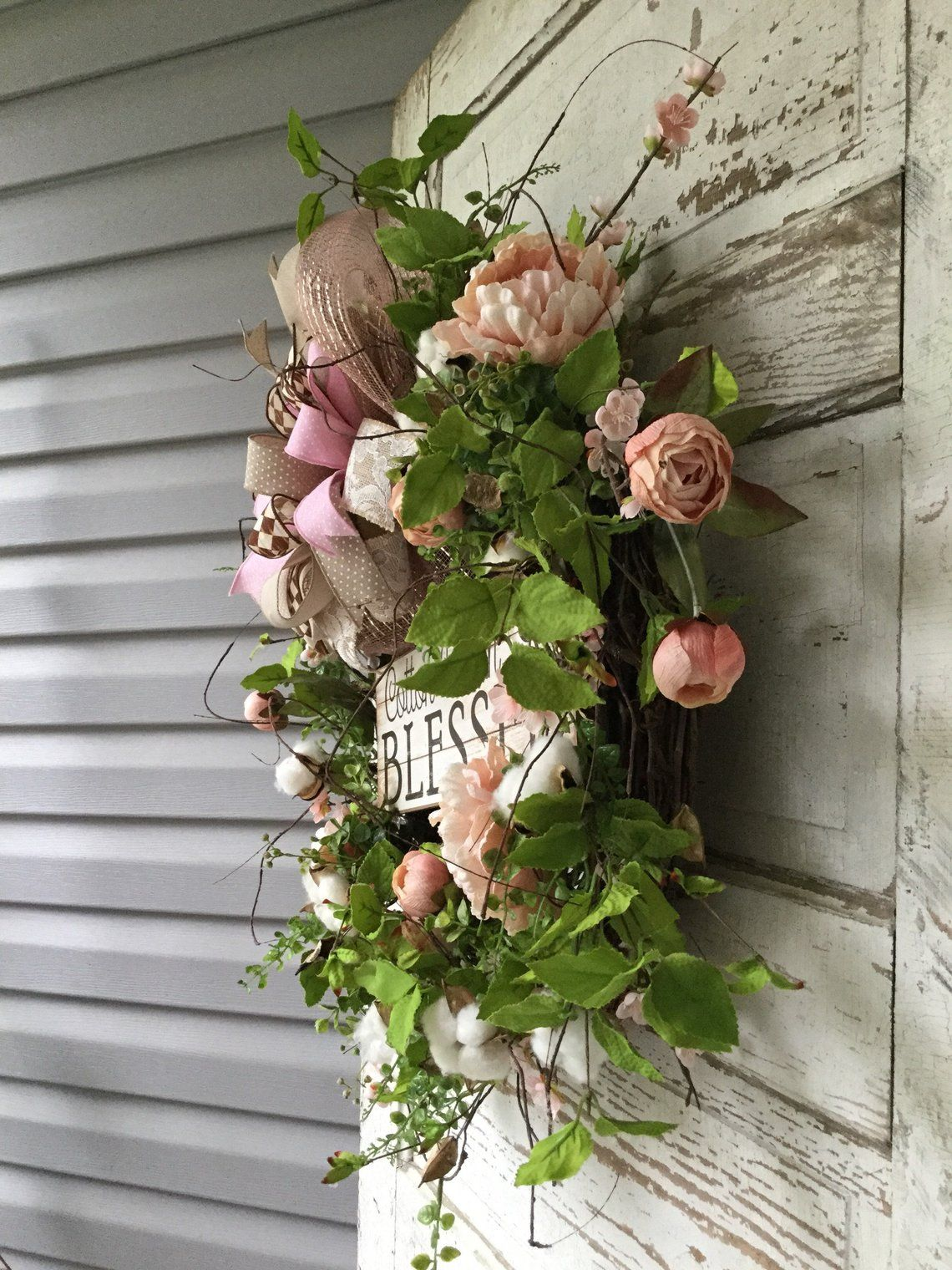 Cotton wreath farmhouse wreath spring wreath summer