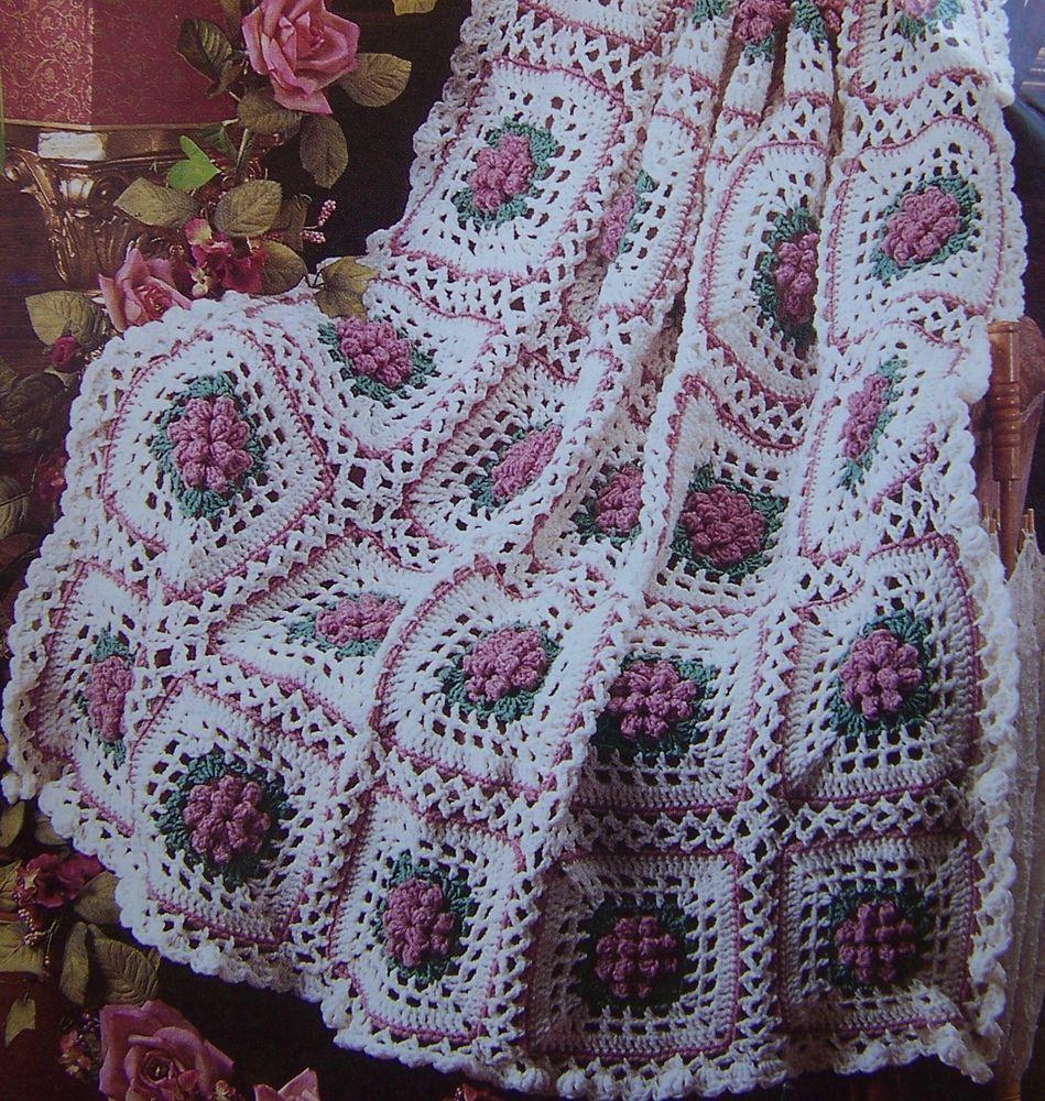 Dusty Rose Popcorn Granny Afghan Crochet Pattern | Manta