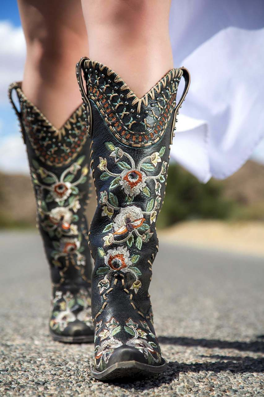 "DDL026-2 DOUBLE D RANCH ALMOST FAMOUS DISTRESSED BLACK EMBROIDERED FLORAL TALL 17"" BOOTS - BootJunky.com"