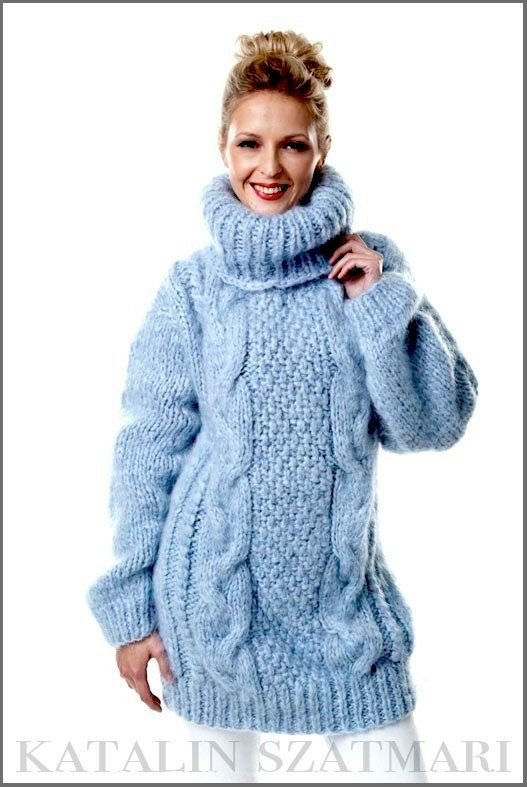 Hand Knitted Medium Blue Mohair/Wool Cabled Turtleneck Sweater For ...
