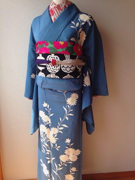 kimonoアンティーク★美しい湖に咲くflower★袷着物★_画像2