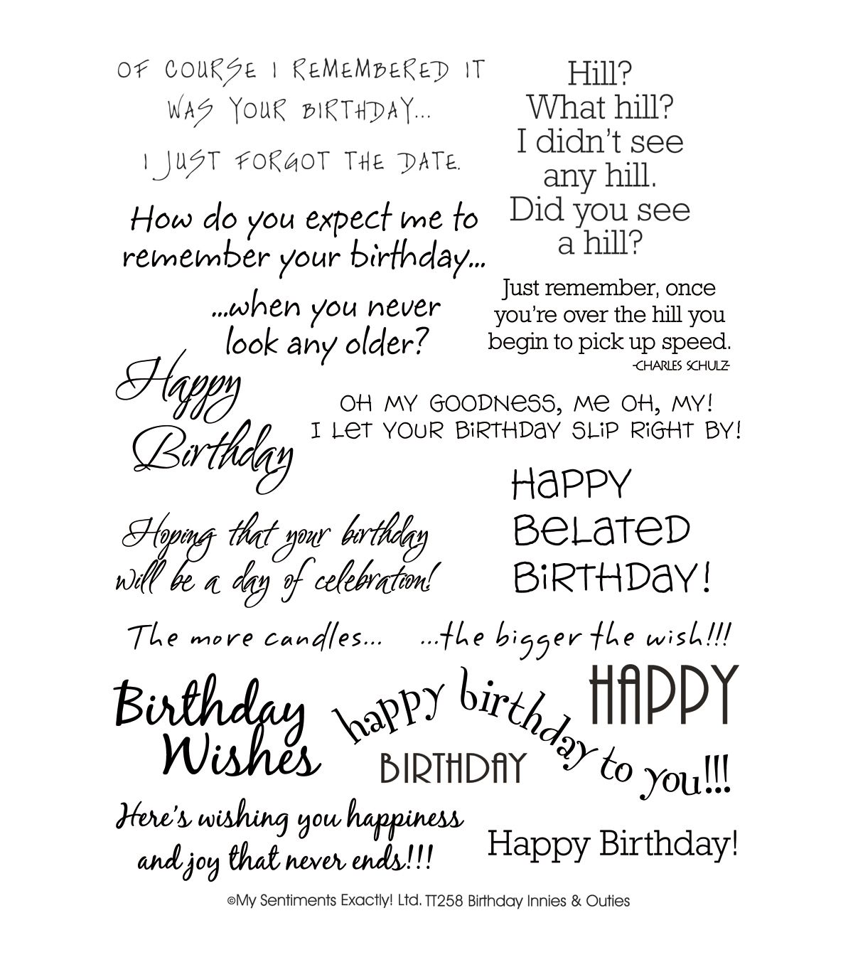 "1688 Best Images About Card Sentiments On Pinterest: My Sentiments Exactly Clear Stamps 6""X8"" Sheet-BirthdayMy"