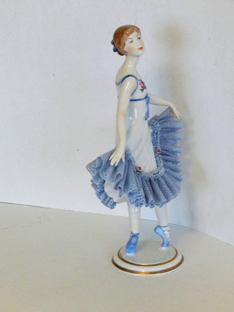 Details about Antique Vintage Dresden Lace Porcelain Ballerina
