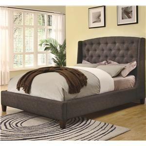 Upholstered Beds Queen Low Profile Dark Upholstered Bed with Exposed Wood Bun Feet