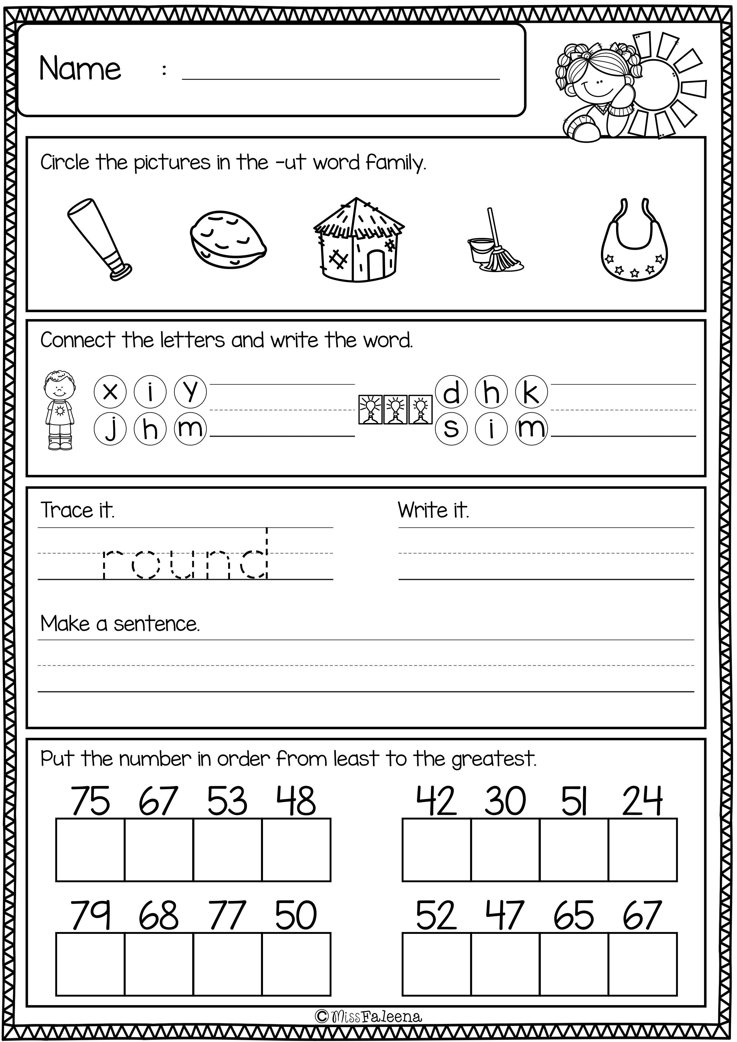 First Grade Morning Work (Set 2) (With images)   Kids math worksheets [ 3508 x 2480 Pixel ]