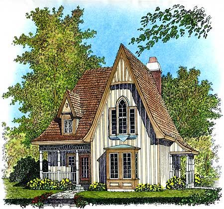 Plan 43002pf Charming Gothic Revival Cottage Victorian House Plans Gothic House Cottage House Plans