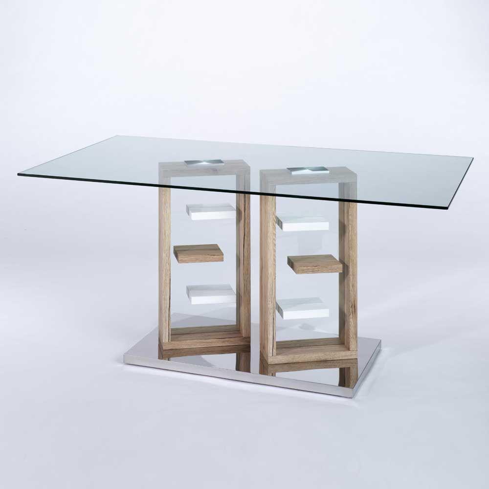 Esstisch glas modern  Glas Esstisch in Weiß Eiche San Remo modern Jetzt bestellen unter ...