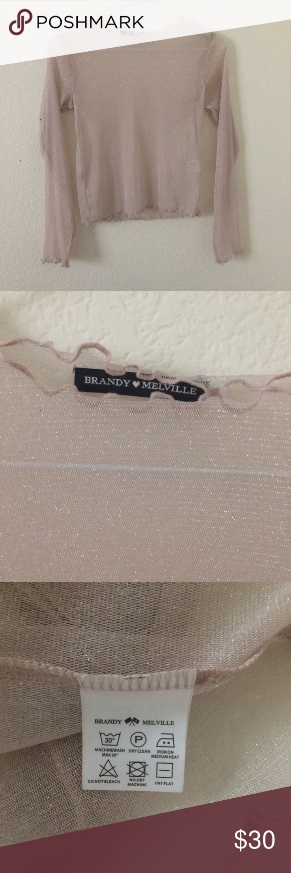 NWOT brandy melville pink rene glitter top NEW WITHOUT TAGS  sheer long sleeve mesh top  has quite a lot of stretch so it could maybe fit up to a medium  no trades Brandy Melville Tops Tees - Long Sleeve