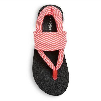 3af32153e112 Girls  Liv Yoga Mat Flip Flop Sandals Cat   Jack - Coral (Pink) M ...