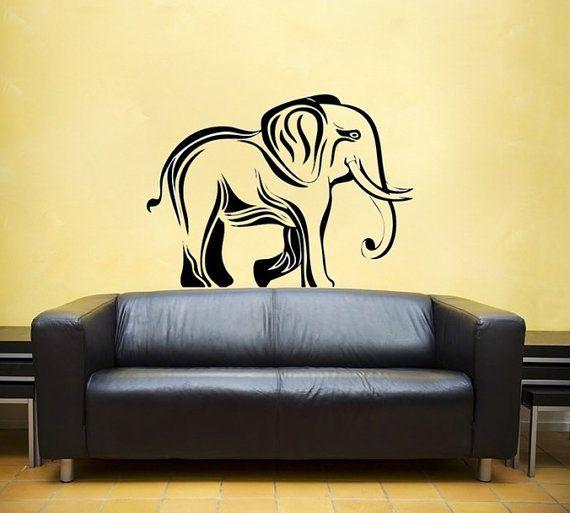 Elephant Tribal Vinyl Wall DECAL Hindi Jungle Africa India Interior Design Sticker Art