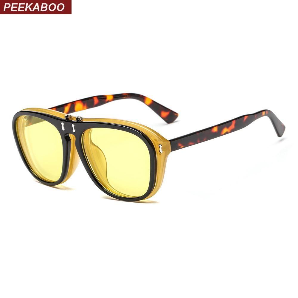 852ac361f25db Peekaboo clip on flip up sunglasses women brand designer 2018 red leopard yellow  flip sun glasses
