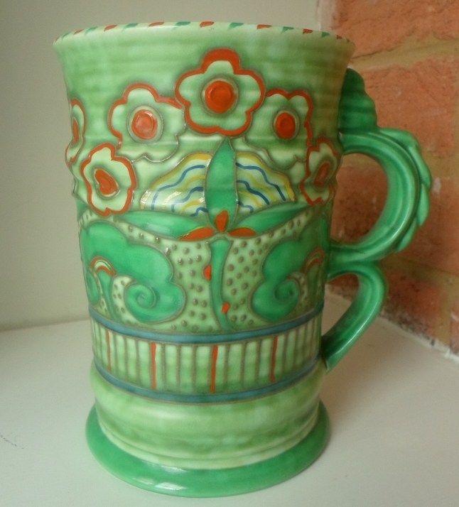 Charlotte Rhead Crown Ducal 4922 Florian Pattern Vase Green
