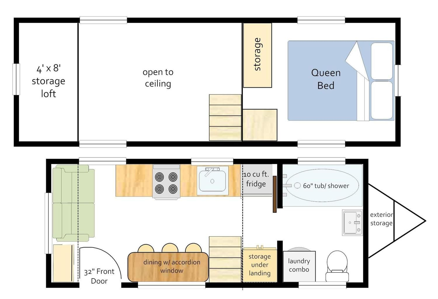 20 Ft Trailer With 2 Ft Loft Extensions Full Bath With Tub Shower Laundry Unit Toilet And Sink Di Floor Plans Building A Tiny House Floor Plan Design